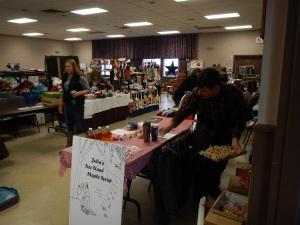 Here we are getting unpacked for selling maple syrup and maple products at the Kinburn Christmas Craft sale.